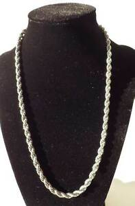 """1 x 20"""" Bright Silvertone Twisted Rope Chain Necklace Bag Handle - 5mm BNChain44"""