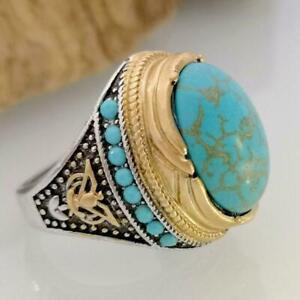 Silver Turkish Handmade Turquoise Stone Ottoman Men's Ring Size Luxury Favo Z4T4