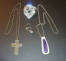 5 PIECE JEWELRY LOT NECKLACES, RINGS, BROOCH, STERLING -  NICE