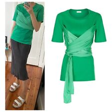 Sandro Paris Bright Green Boxy T-shirt With Draping Sz S