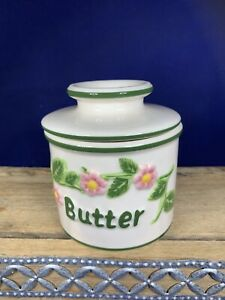The Original Butter Bell Crock Keeper 2003 L. Tremain Green/Pink Floral Design