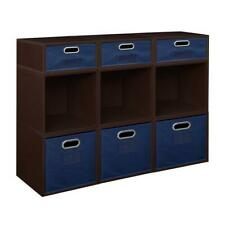 Niche Cubo Storage Set- 6 Full/3 Half w/ Foldable Storage Bins- Truffle/Blue