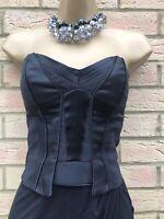 ❤️KAREN MILLEN  Black Asymmetric Strapless Corset  Cocktail Party Dress UK 10