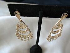 14 K Yellow Gold Turkish Earrings Dangling Designer ER's 2.25 inches