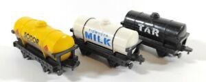 Vintage ERTL Thomas & Friends 1993 Sodor Fuel + Milk + Tar Tanker Wagons Bundle