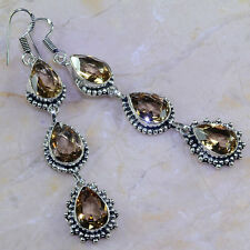 STUNNING GENUINE FLAWLESS FACETED SMOKY TOPAZ QUARTZ 925 SILVER EARRINGS 3 1/4""