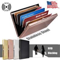 Stainless Steel RFID Blocking Wallet Crash Proof Credit Card Holder Case Pocket
