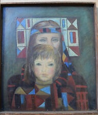Original Russian oil on cardboard Painting unknown artist 1970 Portraits