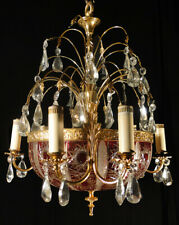 Antique french empire style solid bronze and glass chandelier (1287)