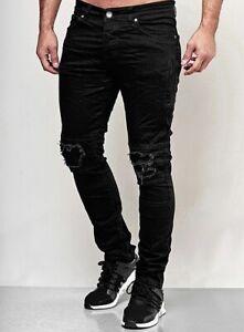 Young Herren destroyed Herren Black Style Skinny Fit Jeans biker Hose Patches