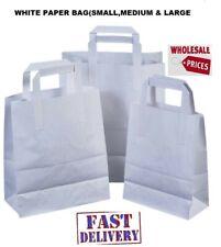 More details for take away food carrier bags brown & white kraft paper bulk wholesale trade price