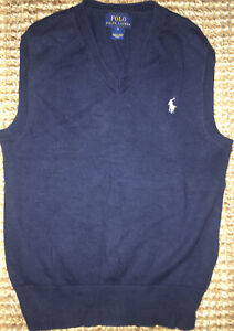 Ralph Lauren Polo Sweater Vest Sz 6 Boy's Dark Blue Easter
