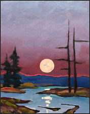 W Hawkins Moon Light Dark Plein Air Impressionist  Modern Art Landscape Painting