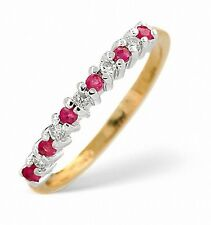 Ruby and Diamond Eternity Ring Size F - Z Yellow Gold Appraisal Certificate