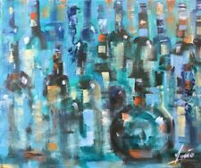 ORIGINAL MENDOZA ABSTRACT CONTEMPORARY MODERN VINTAGE PAINTING ART CANVAS WINE