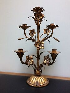 "19"" Gold Gilt Tole Candelabra Italian Flowers Flat Back Mantel Style"