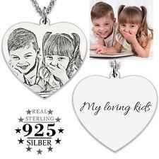 Herz Anhänger + Kette FOTO + GRAVUR 925 Silber Fotogravur Partner Kinder Familie