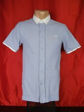 """Fred Perry Mens S Small Shirt Blue Short Sleeves Button Down 17"""""""
