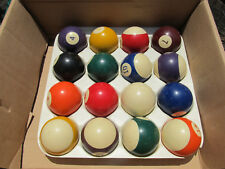 """2"""" POOL BALL SET Colored Numbers! Lot For parts AS IS 16 Balls & Sportcraft Rack"""