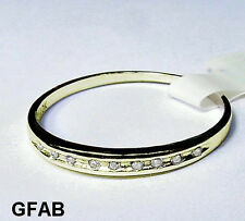 Women's Natural Diamond 10K Solid Yellow Gold Wedding Anniversary Band Ring New