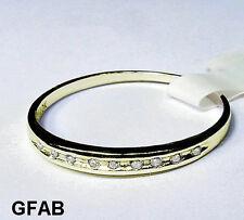 Women's Natural Diamond 10K Solid Yellow Gold Wedding Anniversary Band Ring New