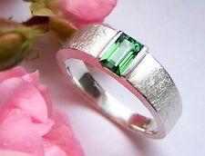 Ring Silber 925 grün Turmalin Indigolith  Rechteck 6 x 4 mm 0,70 ct  Weite 59