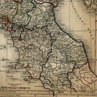 Northern Italy Italia c.1855 Biller engraved old map
