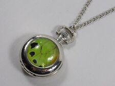 Green Birdwing Pocket Watch Pendant Necklace Butterfly Wing Jewelry