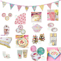 TRULY SCRUMPTIOUS ROMANTIC FAIRY VINTAGE TEA PARTY! CUPS, TABLECLOTH, PLATES!!!