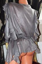 RIVER ISLAND sheer grey Asymmetric hem line ladies blouse top size 14