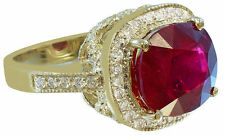 14K YELLOW GOLD CUSHION RUBY AND ROUND CUT DIAMOND ANTIQUE DESIGN RING 5.80CTW