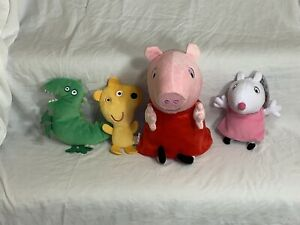 "Lot Of 4 Peppa Pig Plush 12"" Hug N Oink Electronic Talking Stuffed Animal Toy"