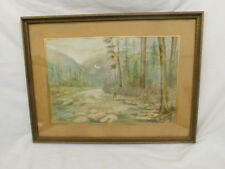 FLY FISHING WATERCOLOR PAINTING FRAMED 1944 VINTAGE SIGNED CE KRAKAU