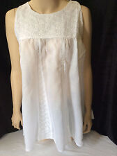 NEW wTAG Peasant Top Tunic Boho Shirt Blouse L Large White Embroidery Wide Hem