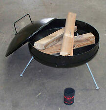 Hillbilly Fire Pit, black steel, collapsible, sealing lid to extinguish flame