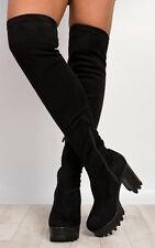knee high boots Black Velvet Stretch Size Uk 3 Eur 36 New