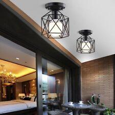 Industrial Vintage Metal Cage Pendant Lamp Semi Flush Mount Ceiling Light Shade~
