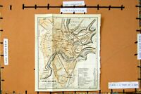 Original Old Antique Print Map 1910 Street Plan Town Luxembourg Obergrun 20th