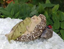 Miniature Dollhouse FAIRY GARDEN ~ Hedgehog Sleeping with Leaf Blanket ~ NEW