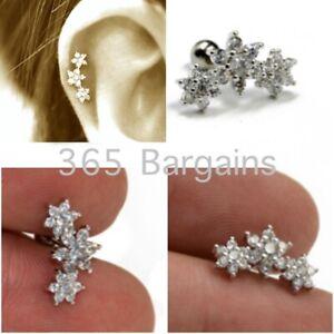 Triple Flower Barbell Gem Stud Ear Tragus Cartilage Earring Helix Conch Steel