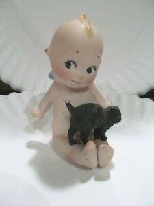 "Rose O'Neill Kewpie Doll Bisque Germany Blue Wings Black Cat Blue Wings 3"""