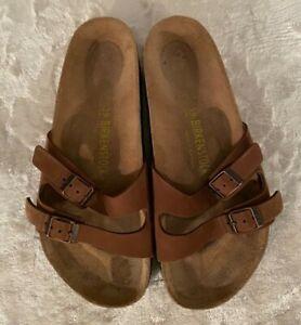 Birkenstock Women's Brown Thin Strap  Sandals Size 39