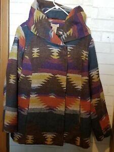 Paris Blues Women's Plus Sz 2X Southwest Aztec Long Jacket Coat
