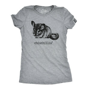 Womens Chinchillin T shirt Funny Chinchilla Animal Lover Graphic Vintage Cool