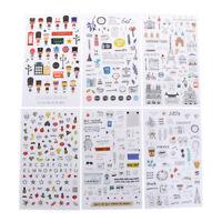 6 pcs/pack European Travel Paper Sticker Diary Scrapbooking Label StickeH Jo WQ