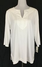 RALPH LAUREN Womes Plus Size 1X Top Blouse White 100% Cotton 3/4 Sleeves NWT