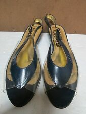Bob Baker Vintage Clear with Blue Leather Trim Womens Flats Size 7.5