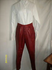 Pair Daniel Tan Red Leather Pants Size 10 Inseam 30
