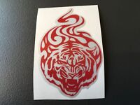 STICKER AUTOCOLLANT REFLECHISSANT TIGRE GRIS ET ROUGE CASQUE MOTO SCOOTER VELO