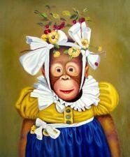 ENOPT745 100% hand paint lovely animal monkey oil painting art canvas